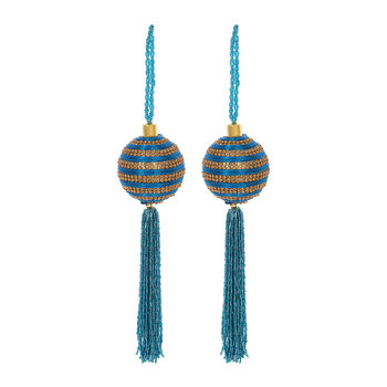 Stripe Bauble with Beaded Tassel - Set of 2 - Blue