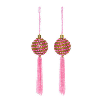 Stripe Bauble with Beaded Tassel - Set of 2 - Pink