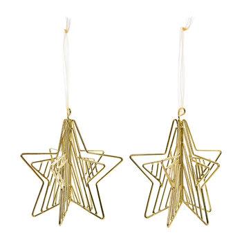 Wire Star Tree Decoration - Set of 2 - Gold