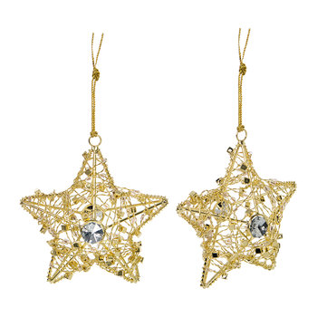 Wire Star with Beads Tree Decoration - Set of 2 - Gold