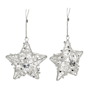 Wire Star with Beads Tree Decoration - Set of 2 - Silver