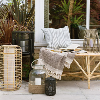 Rattan Bench with Cushions