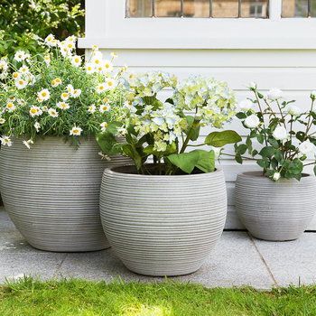 Round Clay Plant Pot - Set of 3 - Taupe
