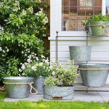 Galvanized Planters with Rope Handles - Set of 3