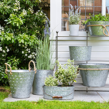 Tall Slotted Galvanised Bucket with Rope Handles