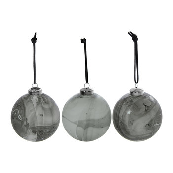 Marble Bauble - Set of 3 - Gray
