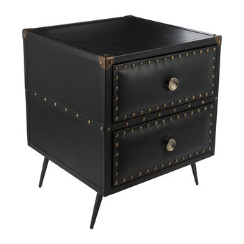 Leather Studded Drawers - Black