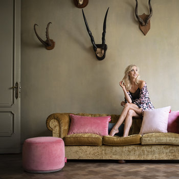 The Point Velvet Pouf - Deep Blush