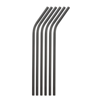 Curved Straw with Brush - Set of 6 - Black