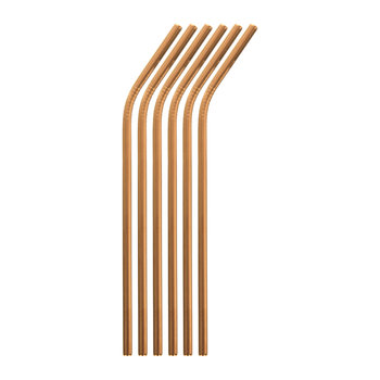 Curved Straw with Brush - Set of 6 - Copper