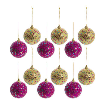 Sequin Bauble - Set of 12 - Gold/Pink