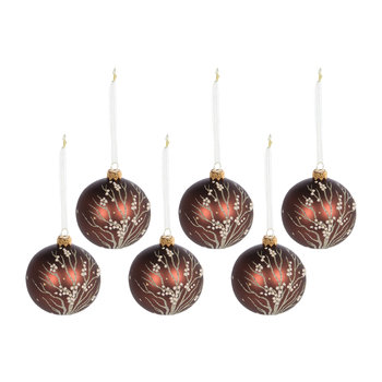 Glitter Dot Branches Bauble - Set of 6 - Rosewood