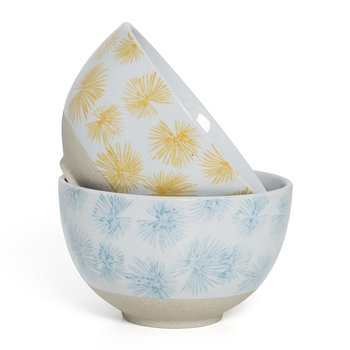 Palm Cereal Bowl - Set of 2 - Blue/Yellow