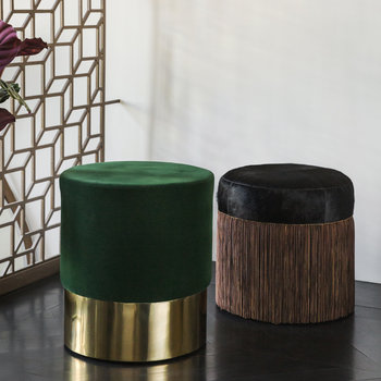 Round Velvet Stool - Green/Gold