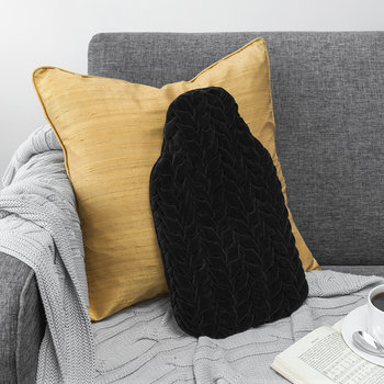 Velvet Peony Hot Water Bottle - Black