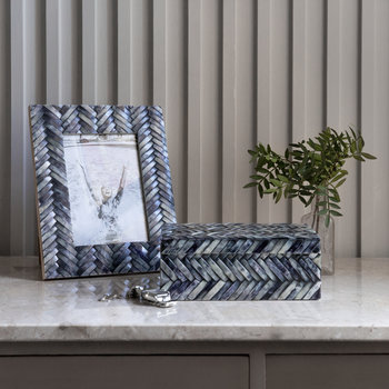 Grey Chevron Photo Frame - 5x7""