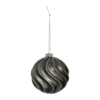 Swirl Lines Bauble - Set of 4 - Pewter/Silver