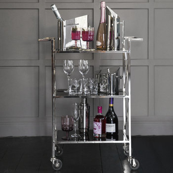 Three Tier Drinks Trolley - Black & Silver
