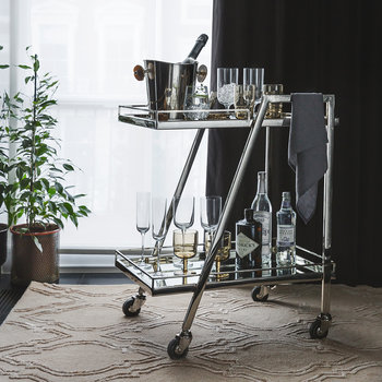 Silver Mirror Drinks Trolley - Rectangular