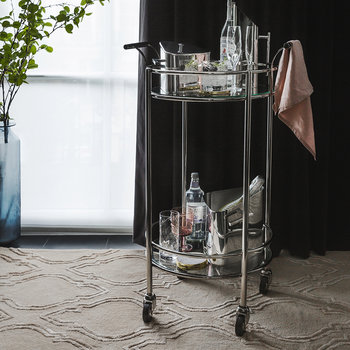 Silver Mirror Drinks Trolley - Round