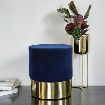 Round Velvet Stool - Navy/Gold