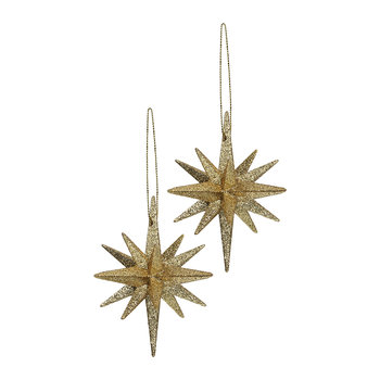 Glitter Bethlehem Star Tree Decoration - Set of 2 - Gold