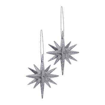 Glitter Bethlehem Star Tree Decoration - Set of 2 - Silver