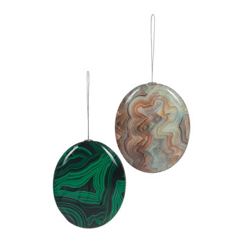 Mineral Stone Tree Decoration - Set of 2 - Green/Cream