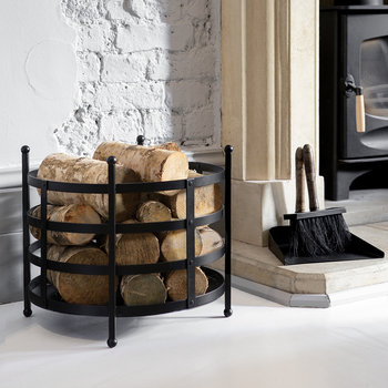 Black Iron Log Basket