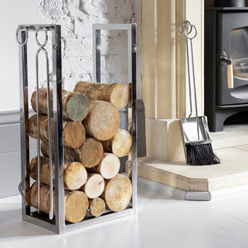 Stainless Steel Log Holder & Fire Set
