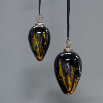 Danoa Giant Drop Bauble - Aged Amber & Black