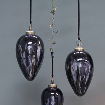 Danoa Giant Drop Bauble - Aged Smoke & Black
