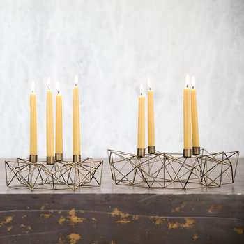 Derwala Geometric Candle Holder - Antique Brass