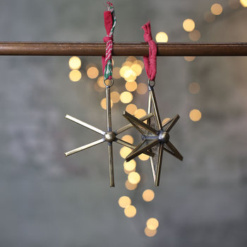 Pakora Star Tree Decoration - Set of 2 - Antique Brass