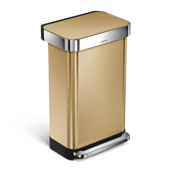 Rectangular Pedal Bin with Liner Pocket - Brass - 45L
