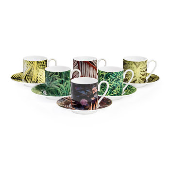 Paradise Foliage Coffee Cups & Saucer - Set of 6