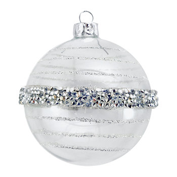 Crushed Sequin Band Bauble - Set of 2 - Silver