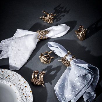 Gold Monster Ball Napkin Rings - Set of 4