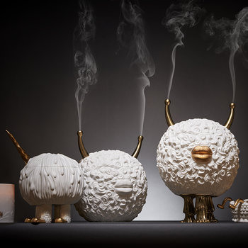 Monster Incense Burner - White & Gold