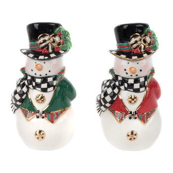 Top Hat Snowman Salt and Pepper Shakers