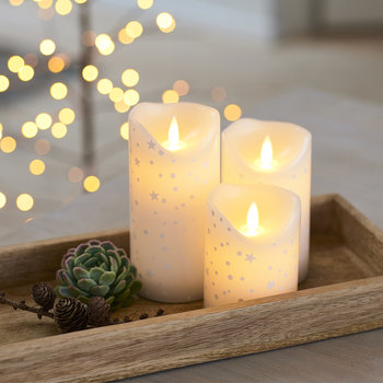 Sara Flameless Candle - Set of 3 - Romantic Gold