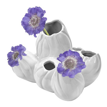 Coral Flower Six Holes Pot - White