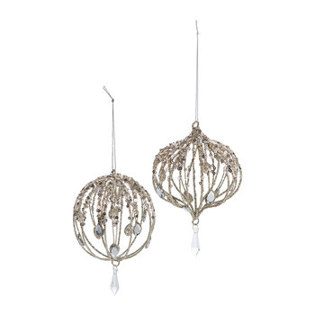 Jewel Wire Bauble - Set of 2 - Champagne