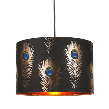 Peacock Feathers Drum Ceiling Light