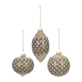 Lace Bauble - Set of 3 - Gold/Brown