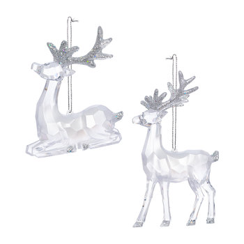 Clear Reindeer with Glitter Tree Decoration - Set of 2