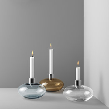 Pluto Glass Candle Holder - Grey