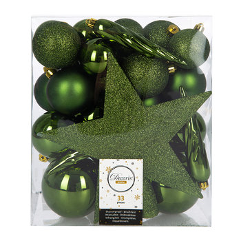 Set of 33 Assorted Baubles and Tree Topper - Pine Green