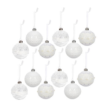 Lace Bauble - Set of 12 - White