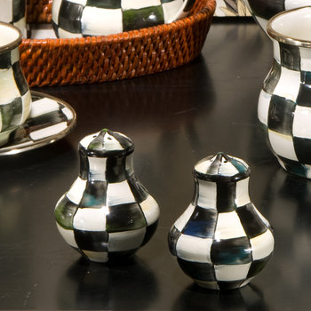 Courtly Check Enamel Salt & Pepper Shakers